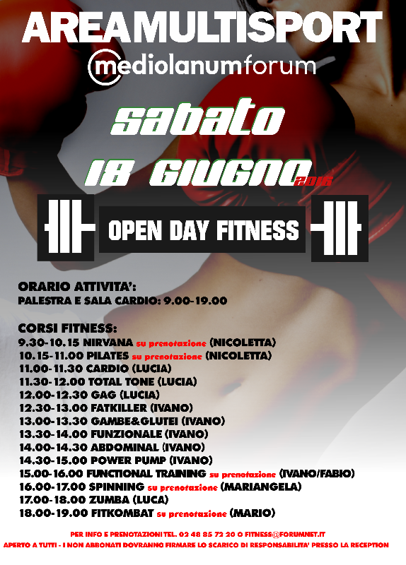 Open Day Fitness 18 Giugno 2016